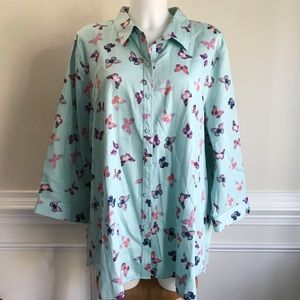 Coldwater Creek blue butterfly button up blouse